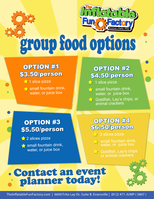 Group Food Options at The Inflatable Fun Factory